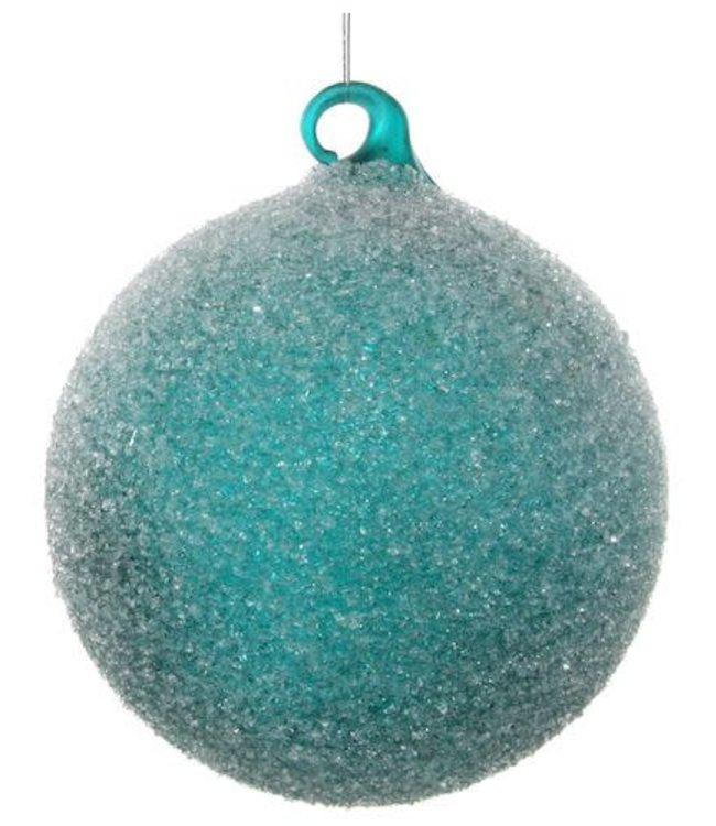 Glazen kerstbal - green sugared / 4 stuks