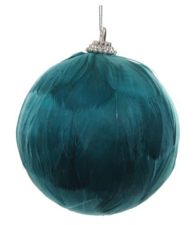 Kerstbal veren groen-blauw