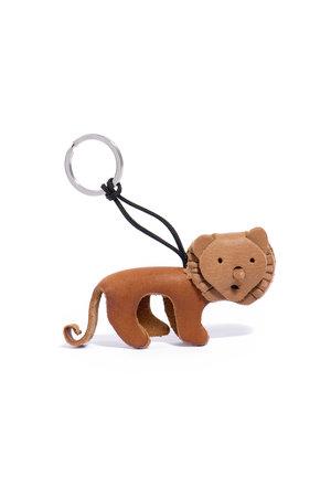 Leren sleutelhanger leeuw - bruin