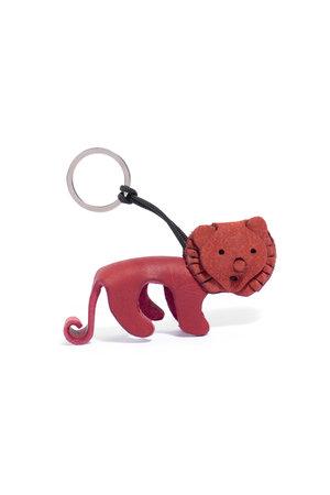 Leren sleutelhanger leeuw - rood
