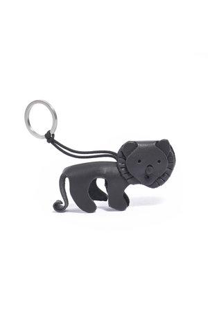 Leather key ring lion - black