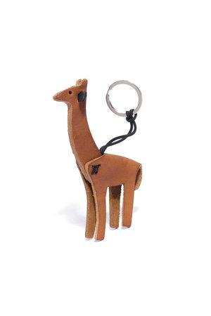 Leren sleutelhanger giraffe - bruin