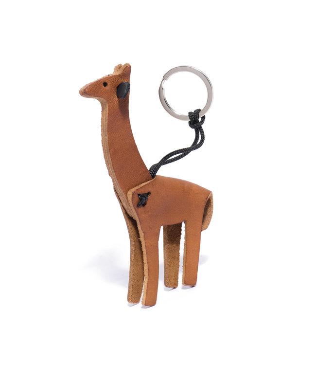 Leather key ring giraffe - tan
