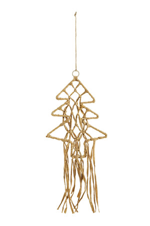 Hanging christmas tree in raffia