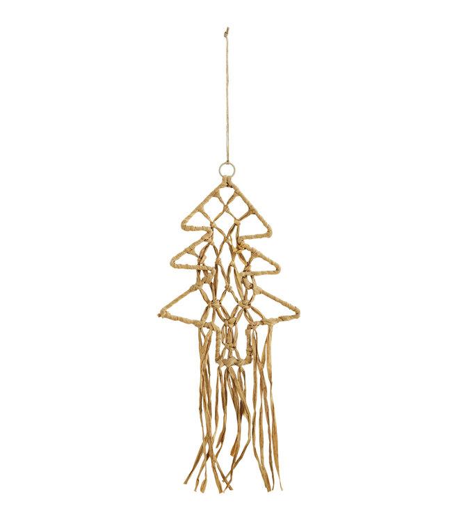 Hanging christmas tree in raffia
