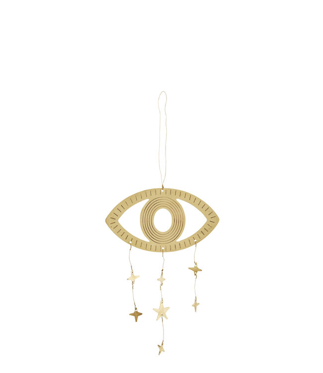 Hanging eye ornament with stars in brushed brass