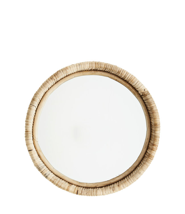 Round mirror with bamboo frame