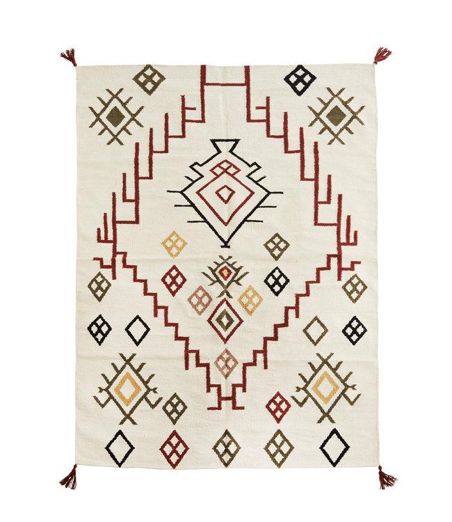Handwoven cotton rug - multicolor
