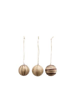 Kerstballen S - glitter/bruin - set van 3