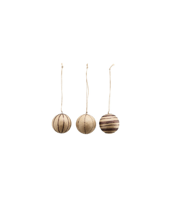 Christmas baubles S - glitter/brown - set of 3