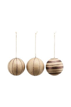 Kerstballen L - glitter/bruin - set van 3