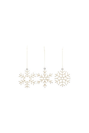 Sneeuwvlokken - zacht beige - set van 3