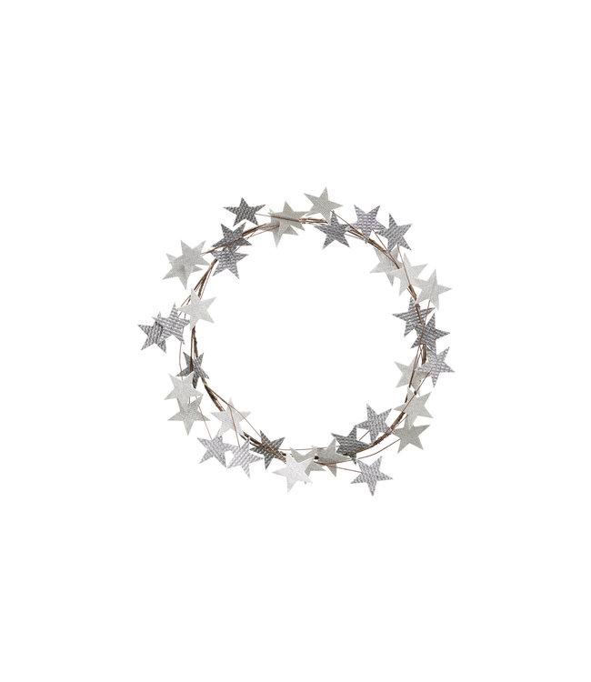 Kerstkrans - zilveren sterretjes