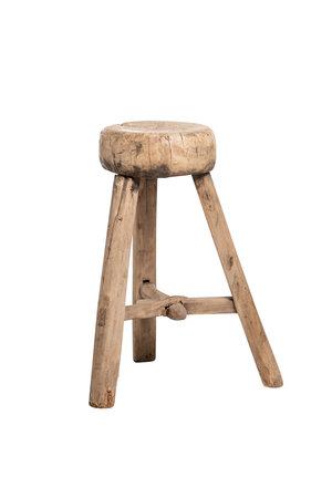 Elm wood antique stool round