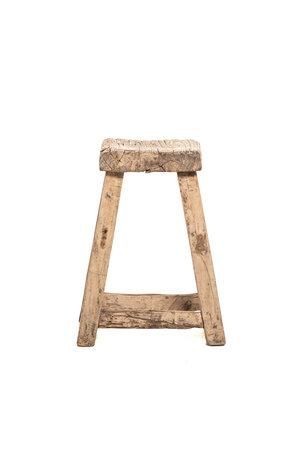 Square stool, weathered elm wood