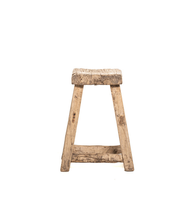 Square stool, weathered elm wood