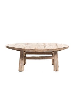 Ronde salontafel olm met houten onderstel
