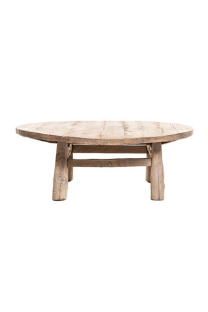Round coffee table elm wood with wooden legs
