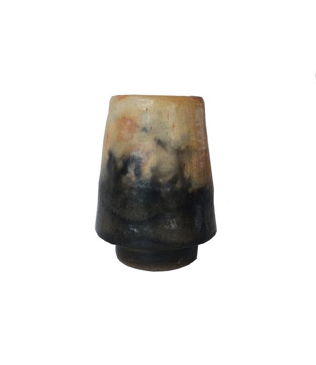 Vaas 'Flem' gebakken klei - naturel/zwart