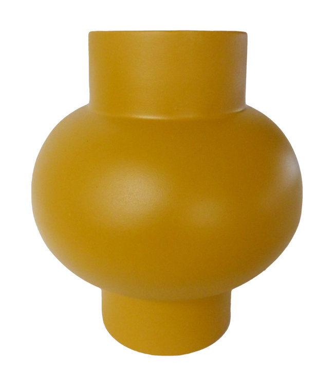 Vaas 'Bulb' gebakken klei - geel