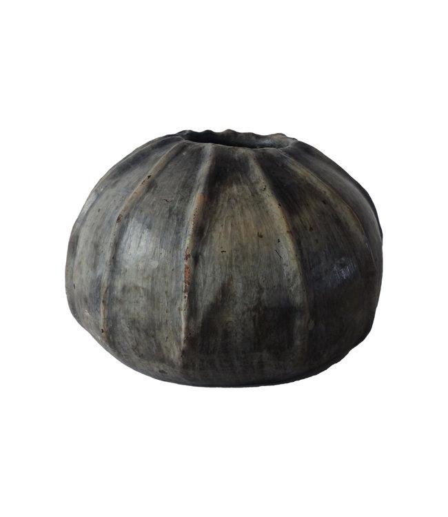Vaas 'Greb' gebakken klei - naturel/zwart