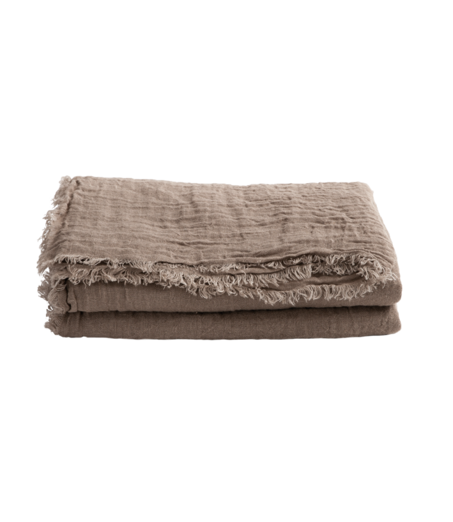 Throw vice versa fringed, washed linen gauze - taupe