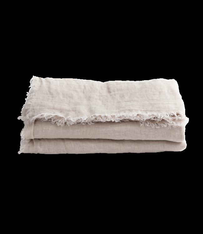 Throw vice versa fringed, washed linen gauze - dune