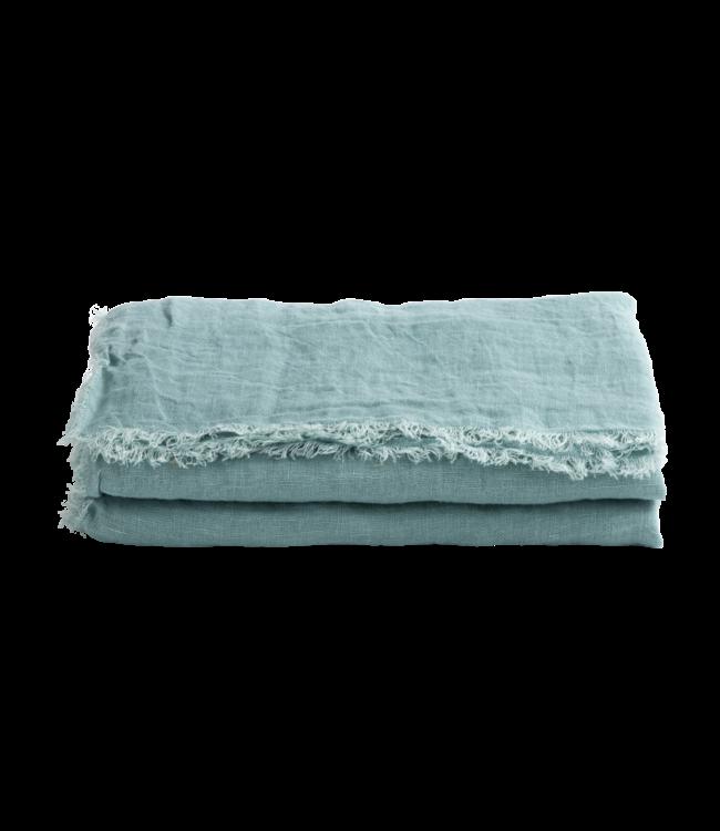 Throw vice versa fringed, washed linen gauze - aqua
