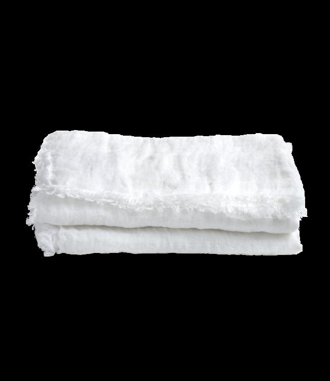 Plaid vice versa met franjes, gewassen gaas linnen - blanc