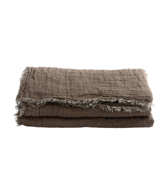 Throw vice versa fringed, washed linen gauze - terre