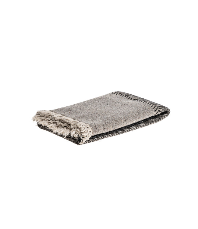 Libeco Jules throw - black herringbone