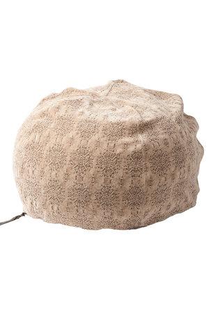 Maison de Vacances Pouf bulle, stone washed jacquard kilim - nude