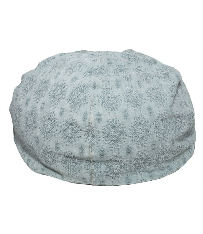 Pouf bulle, stone washed jacquard kilim - aqua