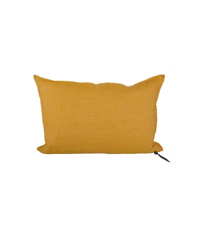 Cushion vice versa, lin lavé froissé - ocre/givré