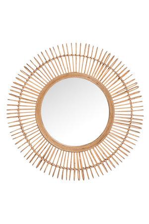 Ronde spiegel met frame in bamboe