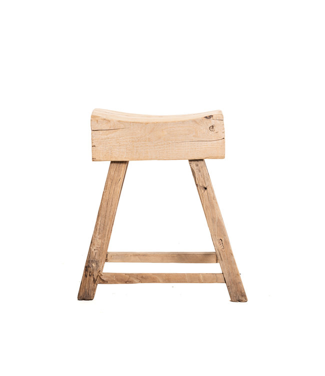 Very thick robust stool, elm wood