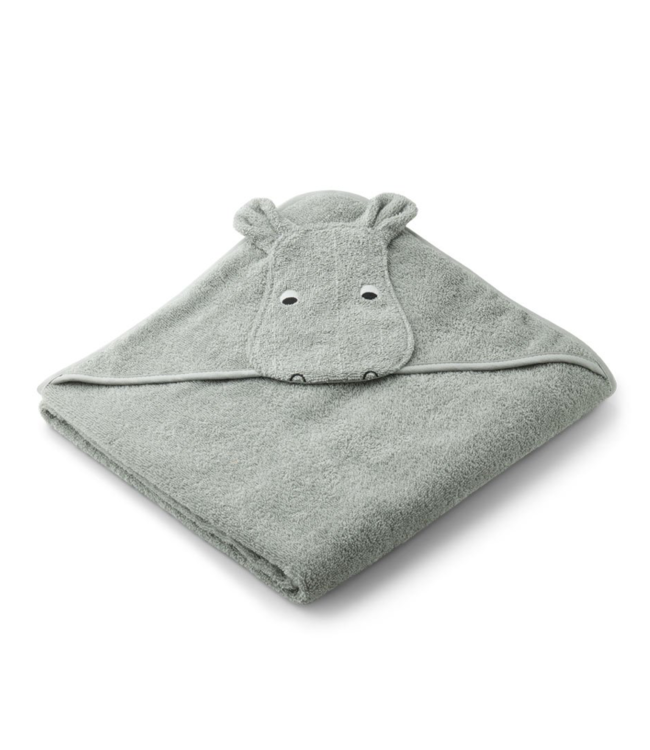 Augusta hooded towel - hippo dove blue