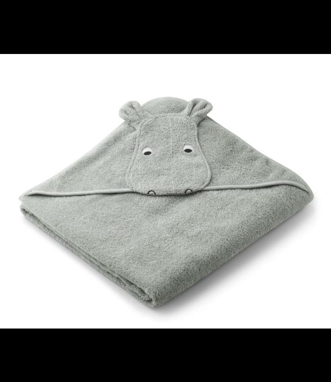 Liewood Augusta handdoek met capuchon - hippo dove blue