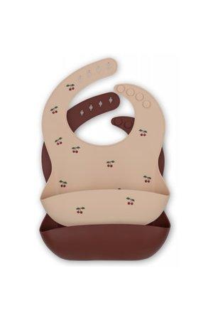 Konges Sløjd 2 pack baby bib silicone - cherry/mocca