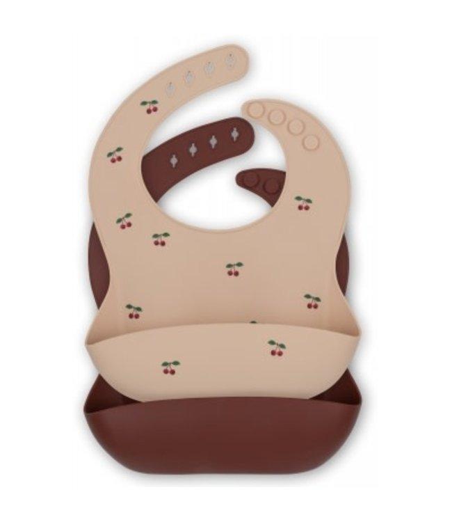 2 pack baby bib silicone - cherry/mocca