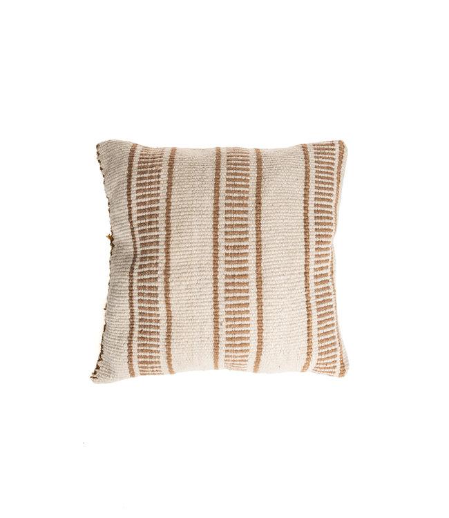 Cushion alpaca dotted line/stripe - camel