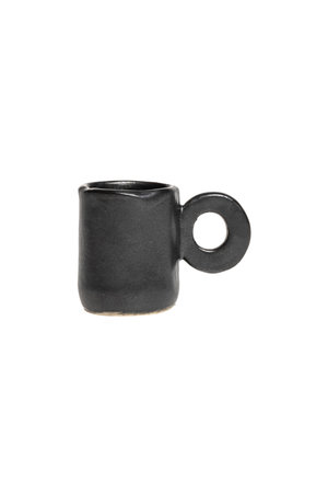Cylindrical black gres coffee cup
