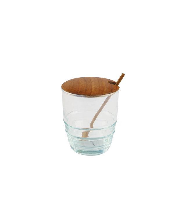 Bewaarpotje van gerecycleerd glas & teak, met lepeltje