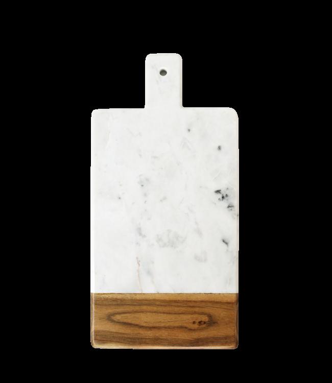 White marble & acacia rectangular handle board