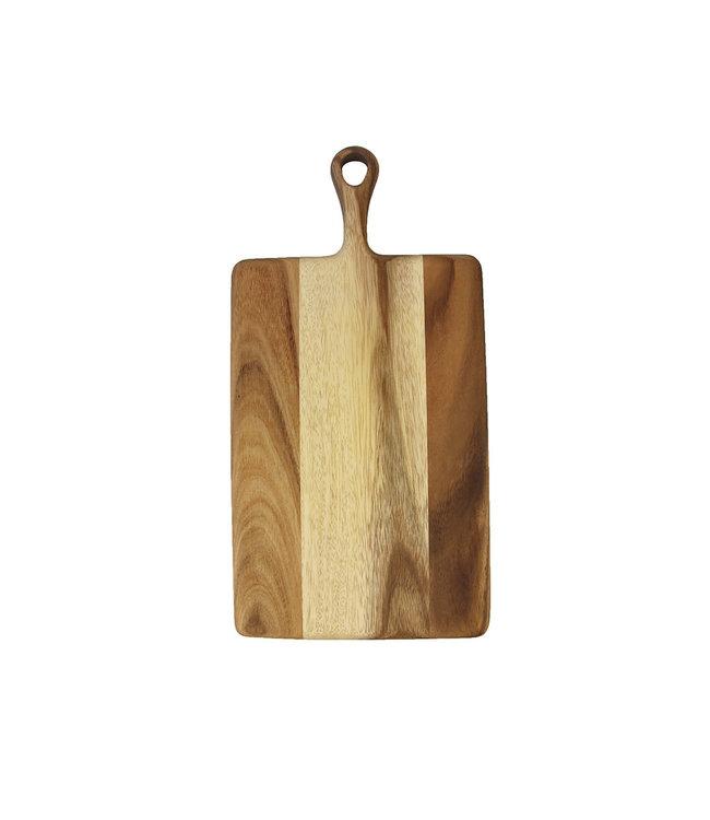 Acacia rectangular board with short handle, small