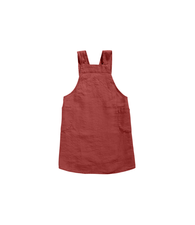 Japanese apron linen - adult carmine red
