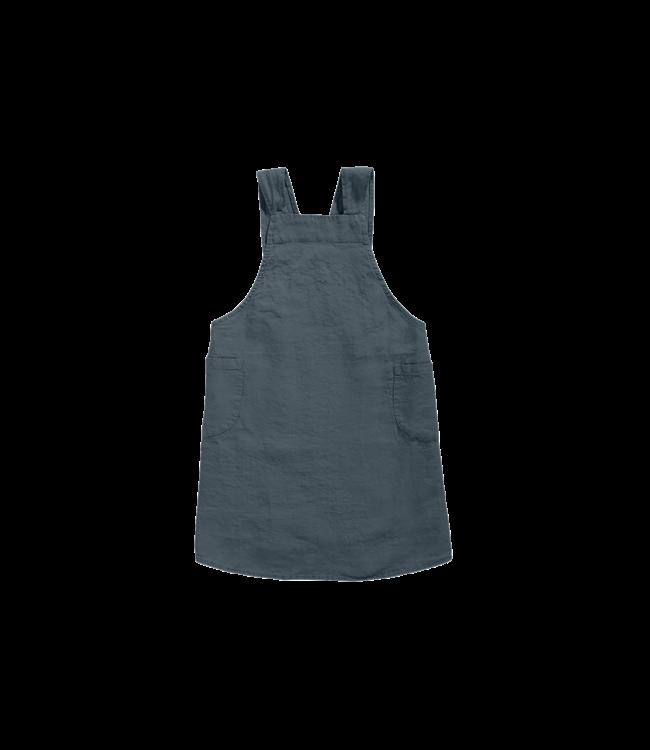 Japanese apron linen - adult duck blue