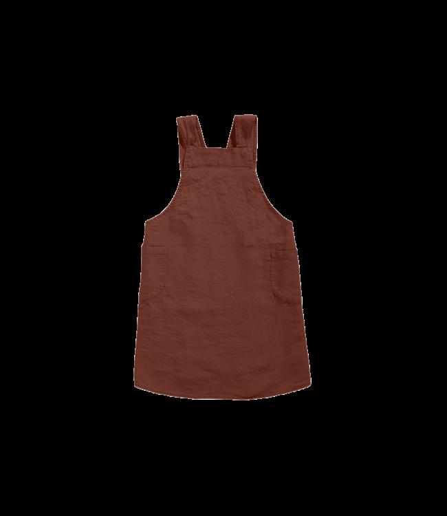 Japanese apron linen - adult dark old orange