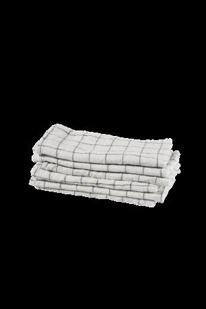 Linge Particulier Servet linnen - white navy xl checks