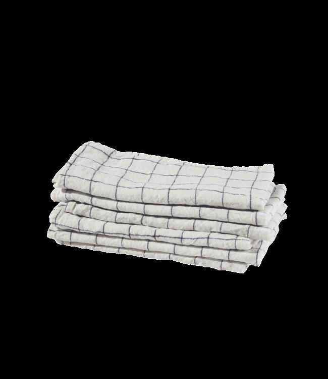 Napkin linen - white navy xl checks